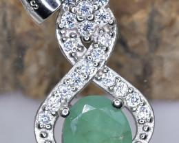 15.11 Crt Natural Emerald With Cubic Zirconia 925 Silver Pendant