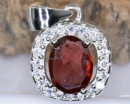 15.50 Crt Natural Rhodolite Garnet With Cubic Zirconia 925 Silver Pendant