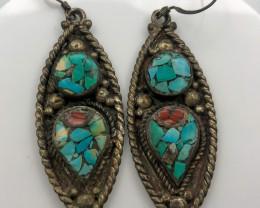 99 Crt Turquoise Nepali Earrings Brass Material