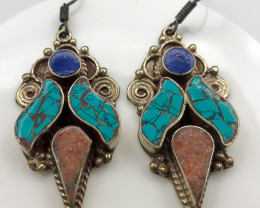120 Crt Turquoise And Lapis Lazuli Nepali Earrings Brass Material