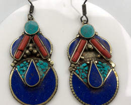 107 Crt Turquoise And Lapis Lazuli Nepali Earrings Brass Material