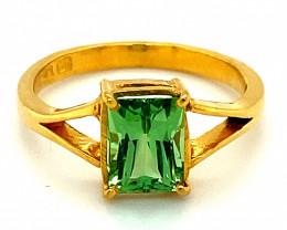 Tsavorite Garnet 2.03ct Solid 22K Yellow Gold Ring
