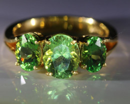 Tsavorite Garnet 4.44ct Solid 22K Yellow Gold Multistone Ring