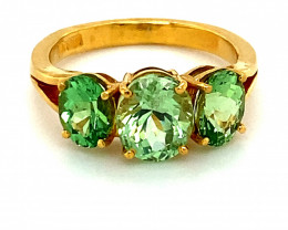 Tsavorite Garnet 4.44ct Solid 22K Yellow Gold Multistone Ring