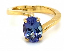 Tanzanite 2.70ct Solid 18K Yellow Gold Ring