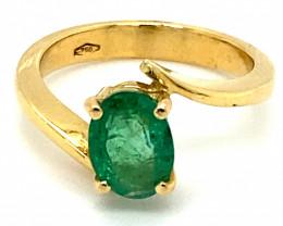 Panjshir Emerald 1.62ct Solid 18K Yellow Gold Ring
