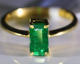 Emerald 1.17ct Solid 22K Yellow Gold Ring
