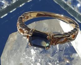 natural Australian parti sapphire ring-9ct YG