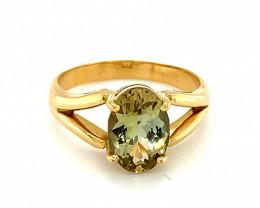 Yellow Tanzanite 2.22ct Solid 18K Yellow Gold Ring