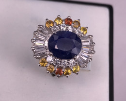 A Stunning Sapphire Ring With White CZ