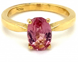 Pink Mahenge Spinel 2.25ct Solid 18K Yellow Gold Ring