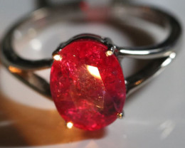 Mozambique Ruby 4.05ct Solid 18K White Gold Ring