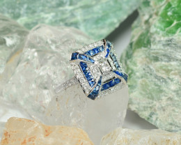18K Art Deco French Royal Blue Sapphire with Fine Millegrain work