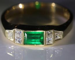 Columbian Emerald 1.28ct Natural Diamonds Solid 18K Yellow Gold Multistone