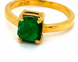 Emerald 1.42ct Solid 22K Yellow Gold Ring