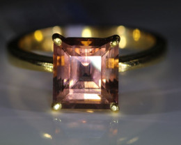 Pink Tourmaline 3.38ct Solid 22K Yellow Gold Ring