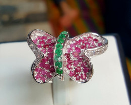 Butterfly Natural Emerald and Ruby with CZ Ring.