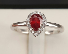 Glass Filled Ruby And CZ Ring