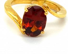 Malaya Garnet 4.27ct Solid 18K Yellow Gold Ring