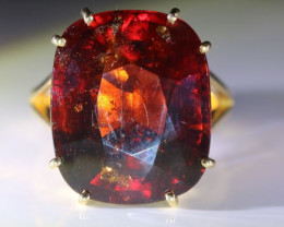 Pyrope Garnet 27.68ct Solid 18K Yellow Gold Ring