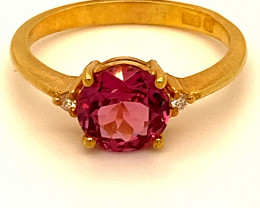 Red Mahenge Spinel 1.66ct Diamonds Solid 22K Yellow Gold Multistone Ring