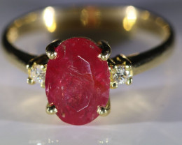 Longido Ruby 2.60ct Natural Diamonds Solid 18K Yellow Gold Multistone Ring