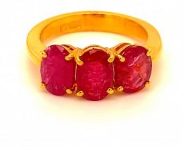 Tajik Ruby 4.53ct Solid 22K Yellow Gold Multistone Ring   7.5gmsssss!!!!!