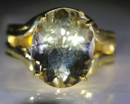 Congo Citrine 7.30ct Solid 18K Yellow Gold Ring