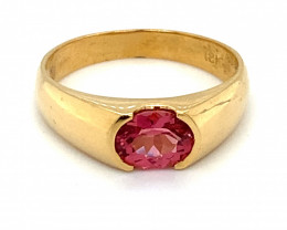 Red Mahenge Spinel 1.06ct Solid 18K Yellow Gold Ring