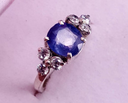 Natural Sapphire with CZ Ring.