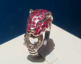Leopard Ruby with CZ Ring.