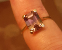 natural amertrine 9ct YG ring