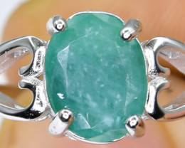 13.84 Crt Natural  Emerald 925 Sterling Silver Ring