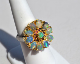 Gorgeous Opal Cluster Ring in Sterling Silver