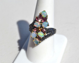 Opal, Garnet, and Sapphire Ring in Sterling Silver