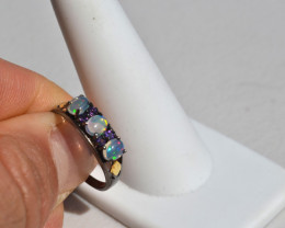 Opal and Amethyst Ring in Sterling Silver