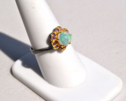Opal and Amethyst Floral Ring in Sterling Silver