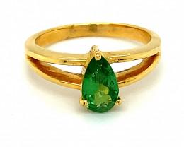 Tsavorite 1.00ct Solid 18K Yellow Gold Ring