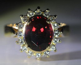 Malaya Garnet 4.30ct Natural Diamonds Solid 18K Yellow Gold Cocktail Ring