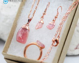 4 Piece Pink Peru Opal Jewelry set $99 for $10.00 - Ring Size N -