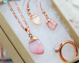 4 Piece Pink Peru Opal Jewelry set $99 for $10.00 - Ring Size O -