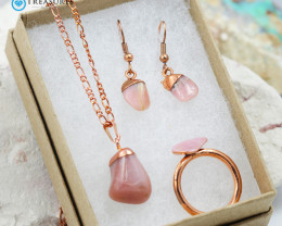 4 Piece Pink Peru Opal Jewelry set $99 for $10.00 - Ring Size Q -