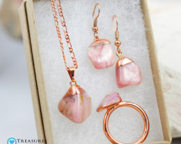 4 Piece Pink Peru Opal Jewelry set $99 for $10.00 - Ring Size R -