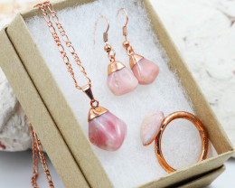 4 Piece Pink Peru Opal Jewelry set $99 for $10.00 - Ring Size X -