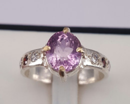 Natural Ametrine  and small CZ Ring
