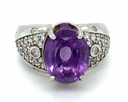 Amethyst 4.00ct Platinum Finish Solid 925 Sterling Silver Ring
