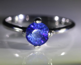 Blue Sapphire 1.32ct Platinum Finish Solid 925 Sterling Silver Ring