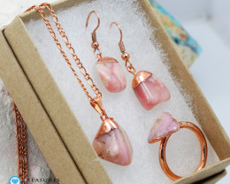 Rose Peru Opal Jewelry set $99 for $10.00 - Ring Size R -