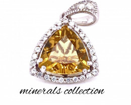 Amazing natural citrine with natural white zircon silver