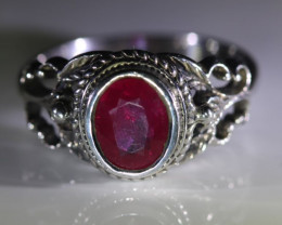 Ruby 1.70ct Solid 925 Sterling Silver Ring